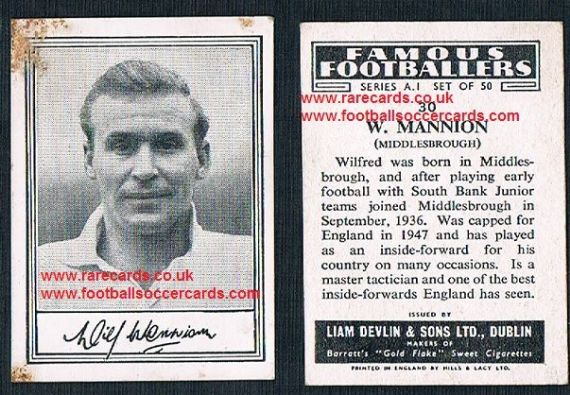 1952 Liam Devlin Ireland Series A1 #30 Wilf Mannion Middlesbrough
